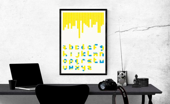 SS Falte font poster in-situe with cyan and yellow print